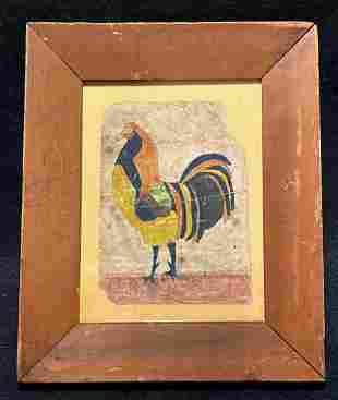 19thc Original primitive chicken watercolor