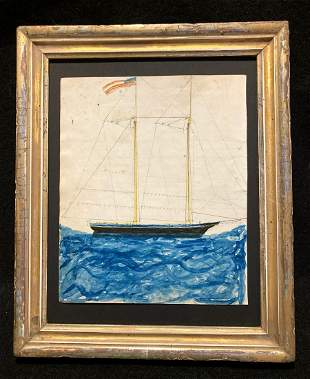 1860 sail ship original watercolor with American flag