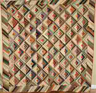 Wool 1870's Log Cabin Quilt, Piano Key Border