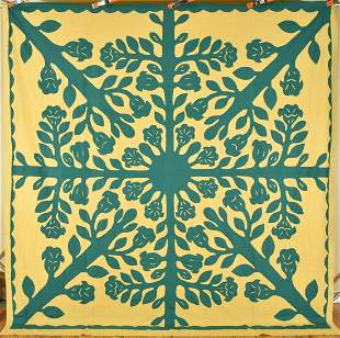 Large 40's Hawaiian Applique Quilt Top
