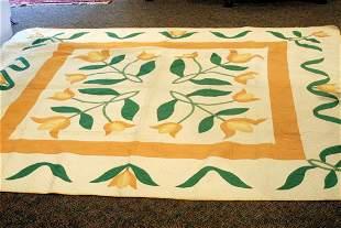 Tulip pattern applique quilt
