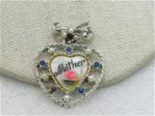 """Vintage Floral & Heart Mother Brooch, 1.75"""""""