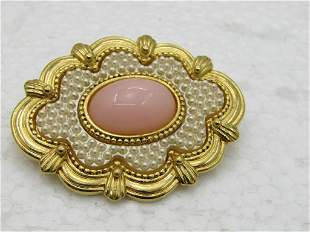 Vintage Faux Pearl & Pink Coral Victorian Themed Brooch