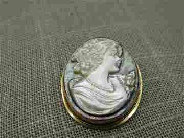 Vintage 14kt MOP Cameo Brooch Pendant, Gray & White,
