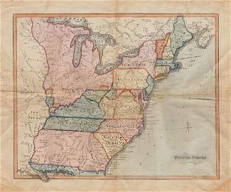 Rare c1780s U. S. map showing Franklinia