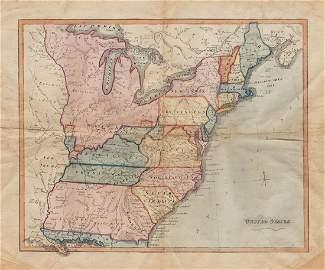 Rare c1780s U. S. map showing Franklinia