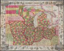 Scarce pocket map of Western States, 1855