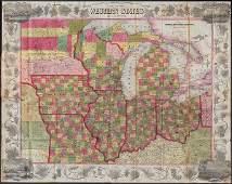 Scarce pocket map of Western States, 1855