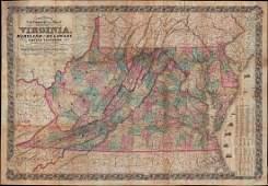 Scarce variation of huge Civil War pocket map - Colton,