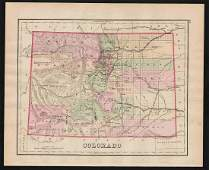 1875 h/c map of Colorado by O. W. Gray
