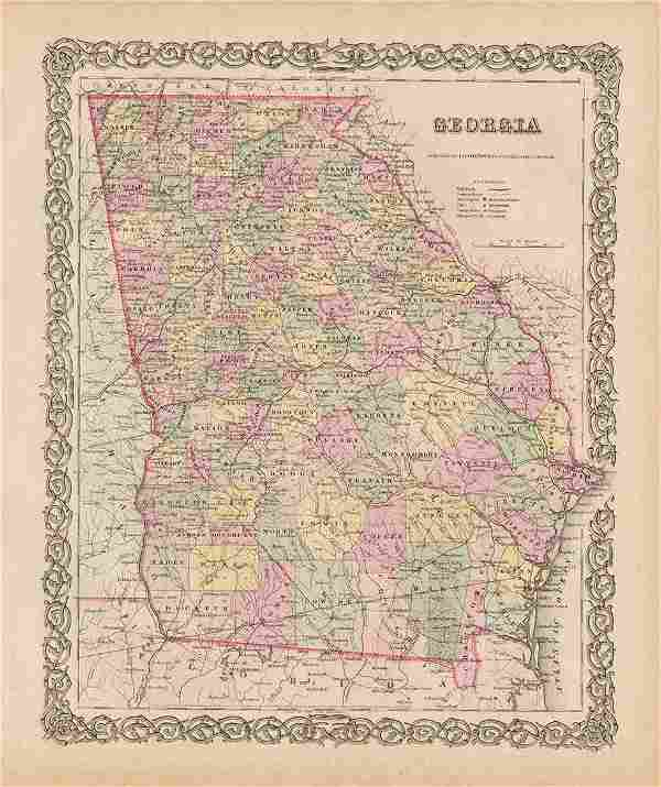 Lovely 1854/56 Colton map of Georgia
