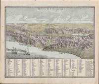 1880s Birdseye View of Holy Land, Geo. F. Cram
