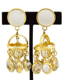 Paco Rabanne Frosted Glass Gilt Metal Pendant Earrings