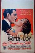 Broadway Bill - 1934 Window Card Warner Baxter & Myrna
