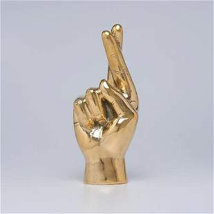 HOPE / PROMISE Hand Signal Sculpture in polished Brass