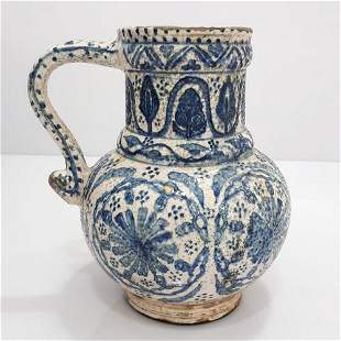 19 th Century Hand Painted Kutahya Pottery Jug
