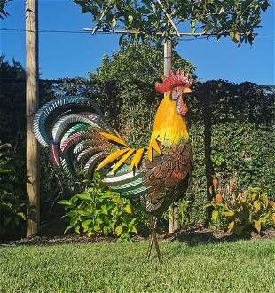 Very large sculpture of a rooster, 85 cm. high - metal