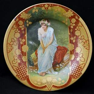 Lithographed Chas Shonk Tin Vienna Art Plate In