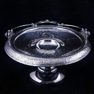 Adelphi Victorian silverplate cake basket roses/buds
