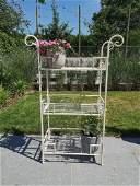 Wrought iron flower rack - white - Iron