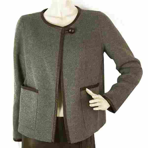 Donna Karan DKNY New York Gray Wool Brown Leather Trim