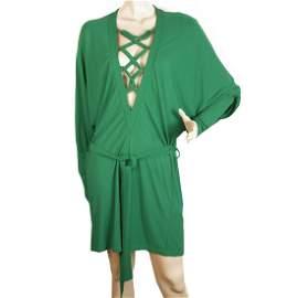 Balmain Green Criss Cross Deep V Neckline Dolman Sleeve