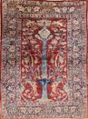Pre-1900 Antique Silk 5x7 Heriz Persian Area Rug