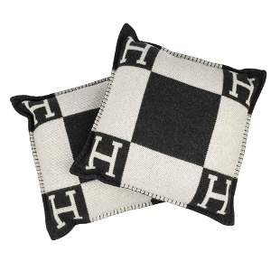 Hermes Cushion Avalon I PM H Ecru and Gris Fonce Pillow