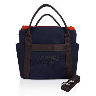 Hermes Tote Sac de Pansage The Grooming Bag Navy / Feu