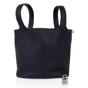 Hermes Picotin Lock 22 Bag Black Tote Clemence