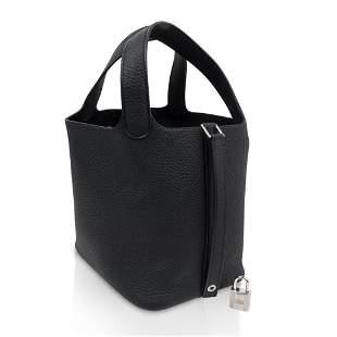 Hermes Picotin Lock 18 Bag Black Clemence Tote