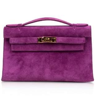 Hermes Kelly Pochette Doblis (Suede) Violet Purple