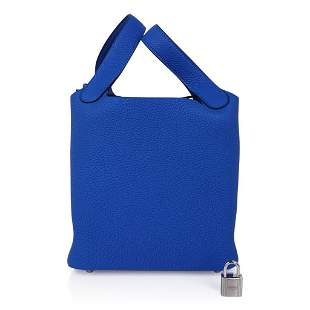 Hermes Picotin Lock 18 Bag Blue Zellige Tote Clemence