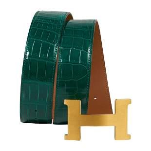 Hermes Belt Constance 42mm Emerald Porosus Crocodile /