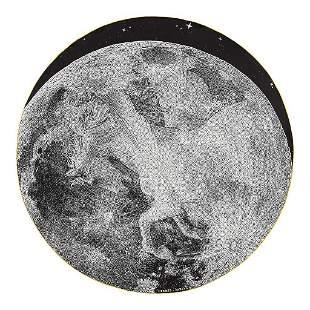 Hermes Scarf Claire de Lune Round Silk 140 Noir / Blanc