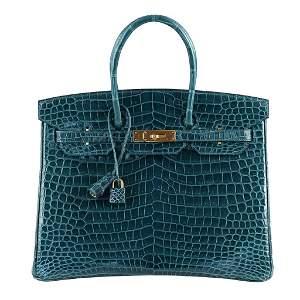 Hermes Birkin 35 Bag Colvert Porosus Crocodile Gold