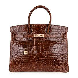 Hermes Birkin 35 Bag Diamond Miel Porosus Crocodile