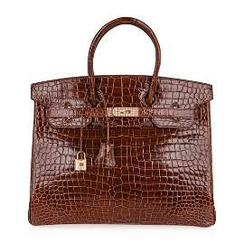 Hermes Birkin 35 Bag Diamond Miel Porosus Crocodile