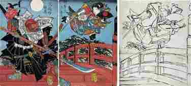 Minamoto Yoshitsune and Benkei on Gojo Bridge