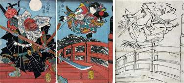 Minamoto Yoshitsune and Benkei on Gojo Bridge