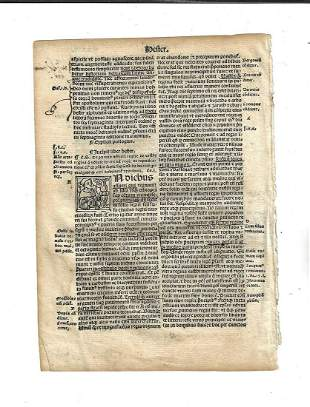 1514 Bible Leaf from Esther Woodcut Initials