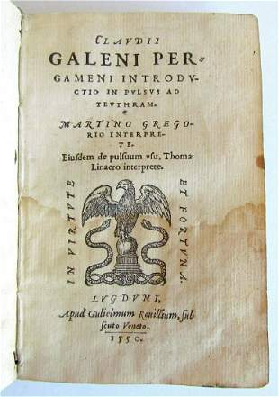 1550 CLAUDIUS GALEN MEDICAL antique 16th century PULSE