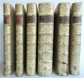 1687-1703 5 FOLIO VOLUMES antique VELLUM BOUND LAPIDE