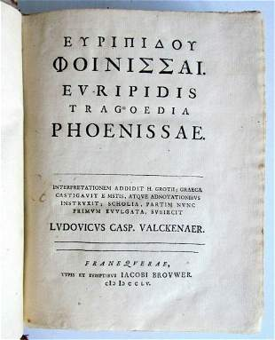1755 EURIPIDES Tragoedia Phoenissae ANTIQUE in GREEK &