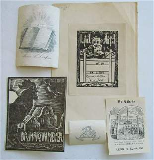 JUDAICA LOT OF 5 antique BOOKPLATES exlibris