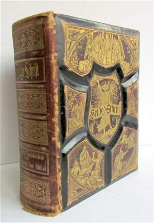 ANTIQUE VICTORIAN BIBLE GERMAN M. LUTHER ORNATE FOLIO