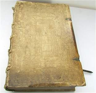 1572 POPE GREGORY MASSIVE FOLIO BLIND STAMPED PIGSKIN
