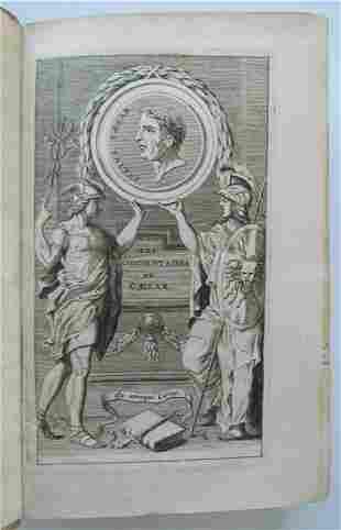 1678 JULIUS CAESAR COMMENTARY antique VELLUM BINDING