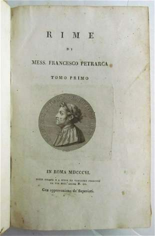 1806 RIME DI MESS. FRANCESCO PETRARCA antique POETRY