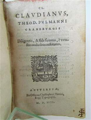 1571 LATIN POETRY by CLAUDIAN PLANTIN PUBLISHERS